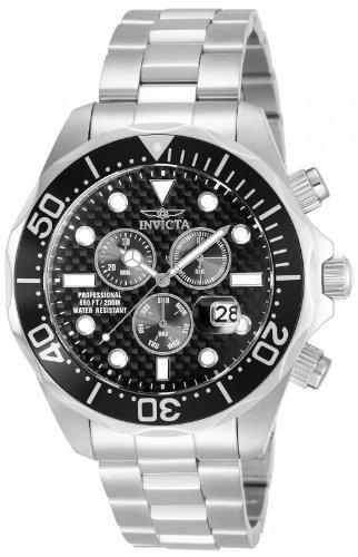(Invicta Men's 12568 Pro Diver Chronograph Black Carbon Fiber Dial Stainless Steel)