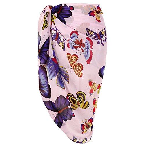 Faleto Womens Swimsuit Chiffon Cover Up Floral Beach Sarong Bikini Swimwear Wrap (#26-Light Purple & ()