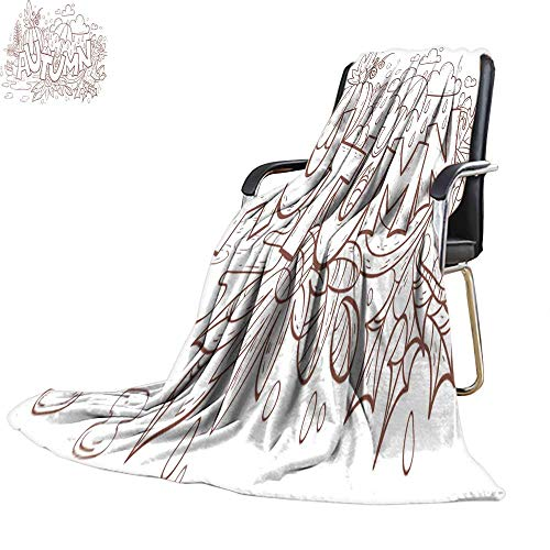 Decorative Throw blanketcouch Throw blanketAutumn Doodle Page for Adult Coloring Book 60
