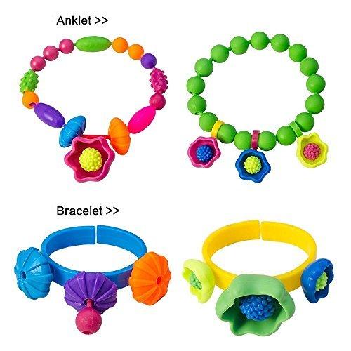 290Pieces Pop Beads Jewelry Yosmi Creative DIY Necklace Bracelet Set Girl Toy for Kids Art Crafts Snap Beads Educational Toy
