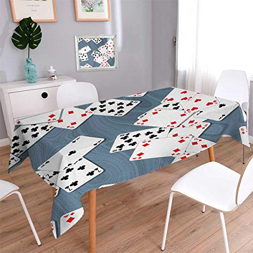 Anmaseven Casino Square Rectangular Tablecloth Abstract Background with Playing Cards Metropolitan Tourist Attractions Oblong Wrinkle Resistant Tablecloth Slate Blue Red Black Size: W60 x - Square Mountain Shower