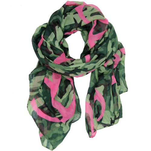 Bucasi Peace Sign and Camouflage print Scarf Green Pink