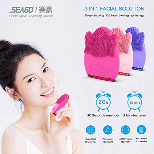 SEAGO Sonic Facial Cleansing Brush, Silicone Face Cleanser Massager Brush for Deep Clean, Daily Anti-Aging Face Wash Brush with Smart Timer, Waterproof IPX6 SG3002 Pink