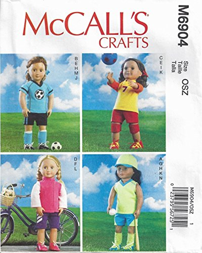 McCall's 6904 18 inch Doll Clothes Pattern American Sport...