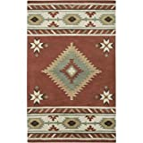 Rizzy Home SU1822 Southwest Hand-Tufted Area Rug, 2-Feet by 3-Feet, Southwest, Navajo Red