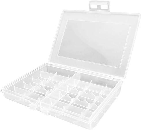 uu19ee Caja de Almacenamiento Transparente para baterías de plástico Duro Transparente Caja de la batería para 10 x AA o 14 x AAA: Amazon.es: Hogar