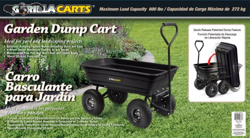 Gorilla Carts GOR200B Poly Garden Dump Cart with Steel Frame and