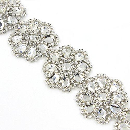 De.De. AB Crystal Rhinestone Applique Flower Bridal Wedding Sash Belts for Dress 1 Yard ()