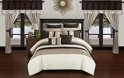 Chic Home Shilo 24 Piece Comforter Set Color Block Embroidered Design Complete Bed in a Bag Bedding - Sheets Bed Skirt Decorative Pillows Shams Window Treatments Curtains Included, Queen Beige