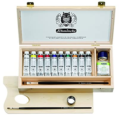 Schmincke Norma Professional Oil 20ml Paint Tube Set in Wooden Box, Includes Jar of Diluent N, 2 Brushes and Palette, Set of 10 Colors (71210097)