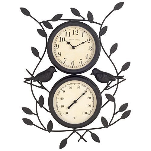 Ashton Sutton Outdoor Clock - Ashton Sutton H308-15F Bird Wall Clock and Thermometer