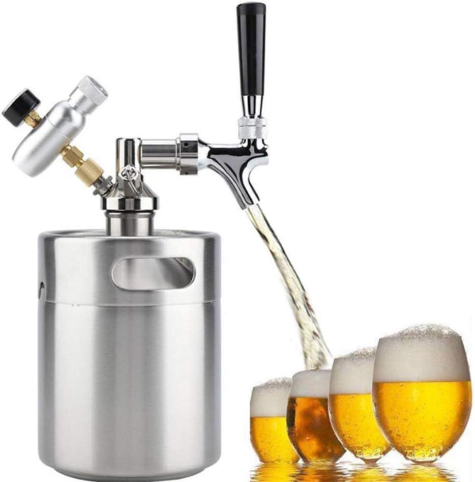 YWT Mini ong de 64 onzas Growler presurizado, para el Sistema dispensador de artesanía Grifo de Cerveza de Barril Ajustable de CO2, dispensador de Cerveza portátil, 2L