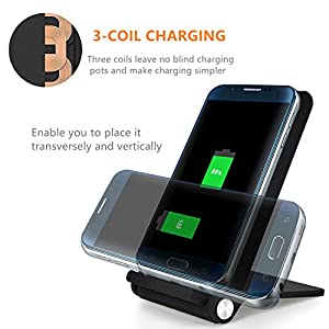 Coofun Foldable Wireless Charger, 3 Coils Qi Wireless Charging Pad for Samsung Galaxy S7/ S7 edge /S6 Edge Plus/S6 Edge/S6/S8/S8 Plus, iPhone 8/8 Plus/iPhone X and All Qi-Enabled Devices (Black)