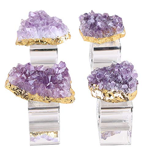 - CXD-GEM Set of 4 Natural Amethyst Cluster Napkin Rings Gold Plated Crystal Napkin Holder for Weddings, Dinners, Decors