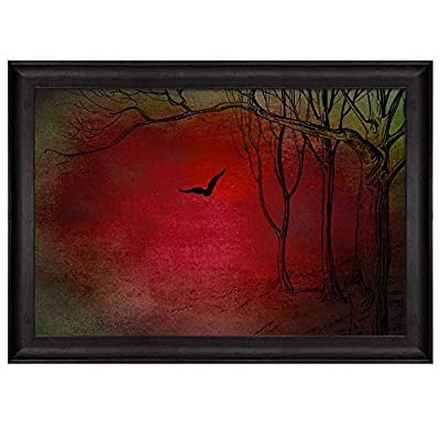 Sketch of Trees in a Forest on a Red Background and Green Vignette Nature Framed Art, Classic Design, Charming Visual