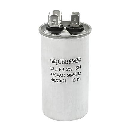 Aexit CBB65 450VAC 15uF Cylinder Shaped Polypropylene Film Motor Capacitor