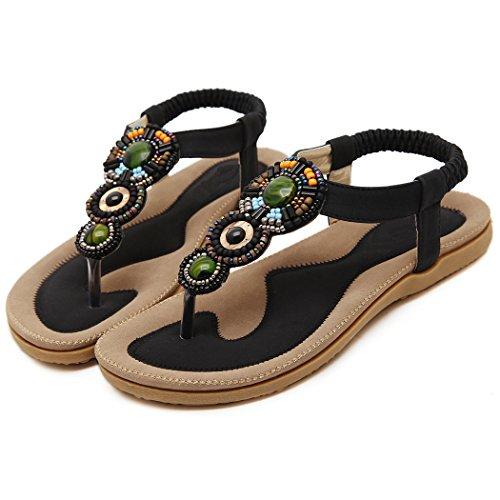 Bohème pour de Noir Sandales de Ruiren Femmes des Plates Chaussures Dames D'été de Bascules Perlées PITqwPBx4