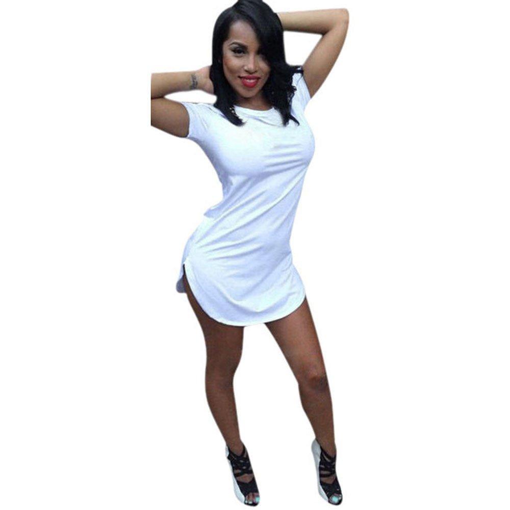 2019 Women Party Mini Dress,Ladies Girls Tops Short Sleeve Side Slit Casual T Shirt (2XL, White)