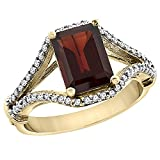 14K Yellow Gold Enhanced Ruby Ring Octagon 8x6 mm with Diamond Accents, sizes 5 - 10