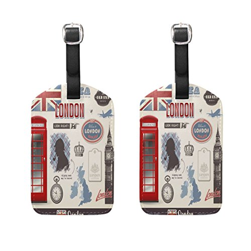 fan products of LEISISI Vintage London Travel Luggage Tags Suitcase Luggage Bag Tags, Travel ID Bag Tag Airlines Baggage Labels Pack of 2