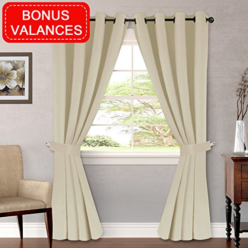 (H.VERSAILTEX Blackout Curtains Thermal Insulated Drapes for Bedroom - Ultimate Luxury and Soft Window Treatment Set (2 Panels of 96 Inch Long, Bonus 2 Curtain Valances, Elegant Beige))