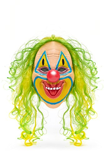 Clown Captain Spaulding Costume (Scary Clown Halloween Mask With Wig Unisex Overhead Terrible Face Masks Facemask (Toxic)