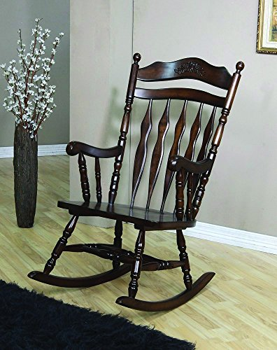 Bella Robin Traditional Wood Rocking Chair with Carved Details