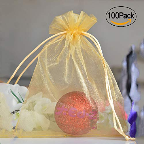 iLoving Small Gold Organza Bags 4x6, 100pcs Champagne Wedding Gift Favor Drawstring Bags Wholesale
