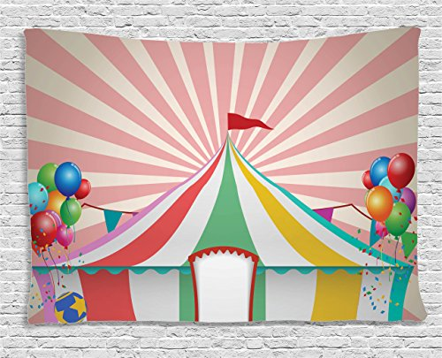 Circus Animals Print - Colorful Tapestry Circus Decor by Ambesonne, For Kids Room Vintage Circus Tent with Balloons Carnival Celebration Animals Artwork Print, Bedroom Living Room Dorm Wall Hanging, 80 X 60 Inches, Multi