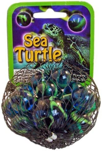 Sea Turtle Game Net Set 25 Piece Glass Mega Marbles Toy