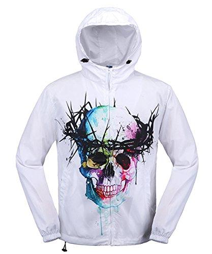 Unisex New fashion 3D Skull Printed Waterproof Outdoor Hoodie Sport Jacket (Skull Waterproof Jacket)