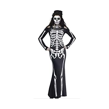 Halloween Kostuem Skelett Amazon.Skeleton Kostum Damen Skeleton Halloween Kostum Skelett Kostum Halloween Damen Skeleton Kostum Halloween Kostume Schwarzes Kleid Size L Amazon De Baby