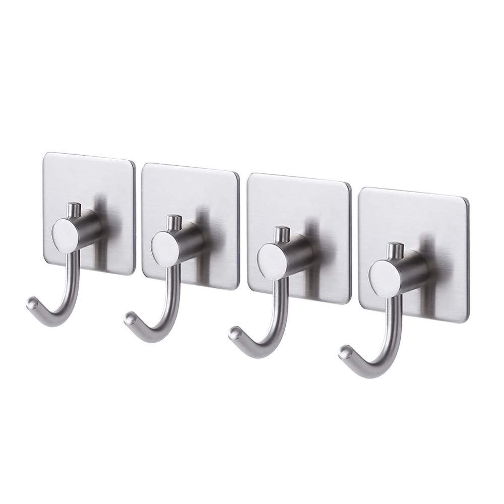 KES Wall Adhesive Hooks SUS 304 Stainless Steel with 3M Self-Adhesive Strip Sticky on Hanger for Bathroom Kitchen Brushed Finish Bath Towel Coat Robe Hook, 6 Pieces, A7068-2-P6 KES Home