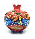 Handmade Traditional Turkish Pottery Pomegranate Shaped Candle or Incense Burner (Red to Blue, Small 4'')