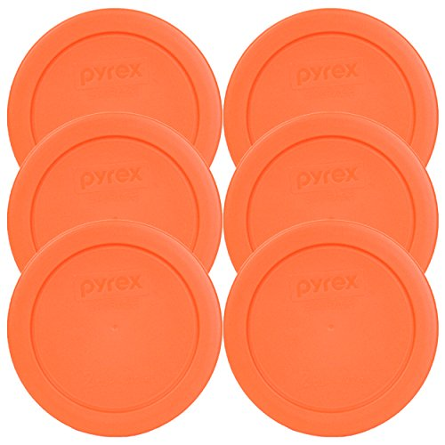 Pyrex Orange 2 Cup Round Storage Cover #7200-PC for Glass Bowls (6 Pack)