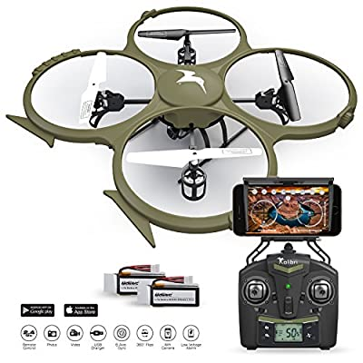 Kolibri U818A Wi-Fi Discovery Delta-Recon Quadcopter Drone Tactical Edition with 720p HD Camera (Military Matte Drab Green) by Kolibri