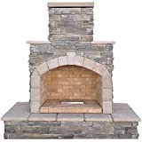 Cal Flame Outdoor Fireplace FRP908-3-NA Cultured Stone & Tile, LP Gas, 36″ Firebox,7 Piece Log Set with Lava Rocks Review