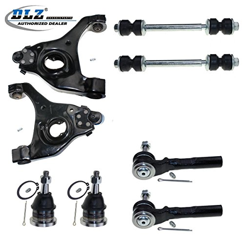 DLZ 8 Pcs Front Suspension Kit-2 Upper Ball Joint, 2 Lower Control Arm & Ball Joint Assembly, 2 Outer Tie Rod End, 2 Sway Bar for RWD/2WD 1999-2006 Chevrolet Silverado GMC Sierra 1500