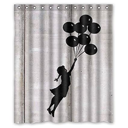 Banksy Girl And Balloon Waterproof Shower Curtain 150 X 180 Cm Amazoncouk Kitchen Home