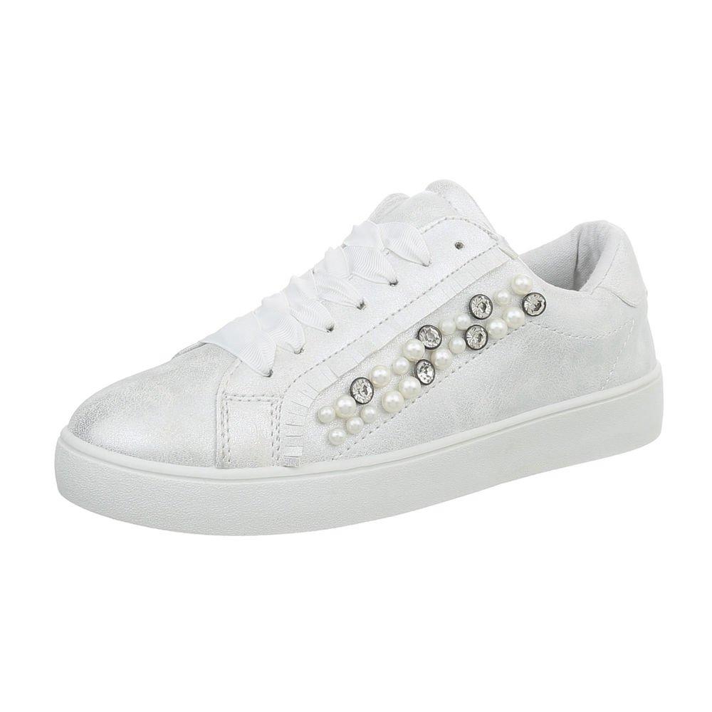 Ital-Design Damenschuhe Freizeitschuhe Sneakers Niedrig Weiß Silber 88012-