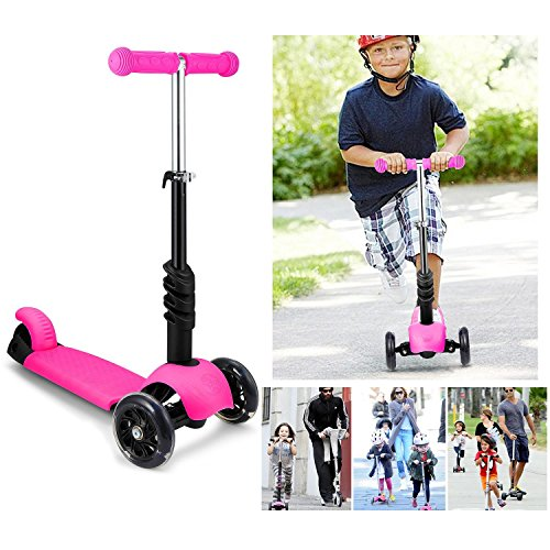 Amazon.com : Bluefringe Kick Scooter 3-in-1 for Kids Children Boys Girls Age 3-10, 3 Wheel Adjustable Height T-bar Push Kickboard Ride On Toys with LED ...