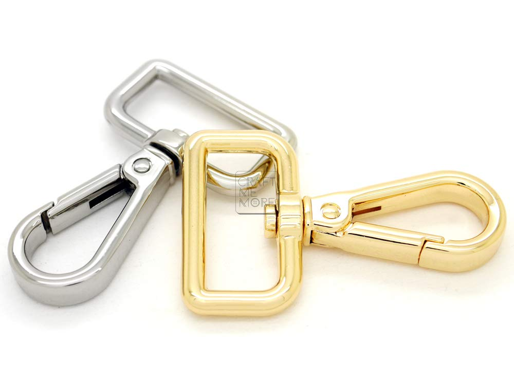 1 Inch, Silver CRAFTMEmore 2pcs Mini Swivel Clasps Push Gate Snap Hook Lobster Claw Landyard Clip Purse Accessories 2 Long Pick Variations!