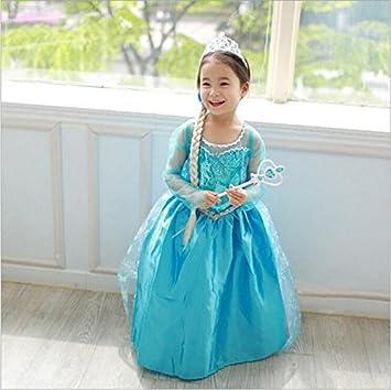 JZK Vestido Largo Azul Traje de Reina Hielo Vestido Elsa Princesa Vestido niña para Fiesta temática Frozen cumpleaños Traje Fiesta Halloween Navidad