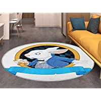 in Wonderland Print Area rug Rabbit with Pocket Watch Design Amazing Alice Fantasy World Perfect for any Room, Floor Carpet Blue White Golden