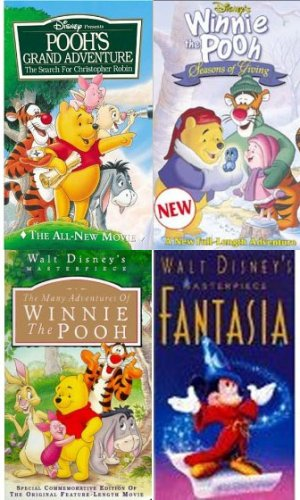 walt disney's 5 pack: Pooh's Grand Adventure - The Search for Christopher Robin , The Many Adventures of Winnie the Pooh (Walt Disney's Masterpiece), Winnie the Pooh - Seasons of Giving , Fantasia (Walt Disney's Masterpiece) , The Lion King (A Walt Disney Masterpiece)