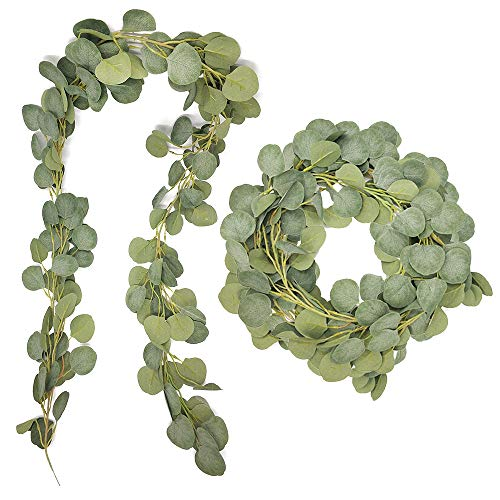 Musdoney 6.6FT Artificial Vines Faux Silk Eucalyptus Garland Greenery Wedding Backdrop Arch Wall Christmas Holiday Season Greenery Garlands Fake Hanging Decor ()