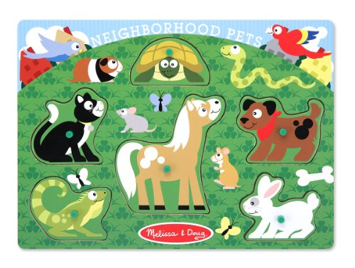 Doug Pets Peg Puzzle - Melissa & Doug Neighborhood Pets Wooden Peg Puzzle (6 pcs)