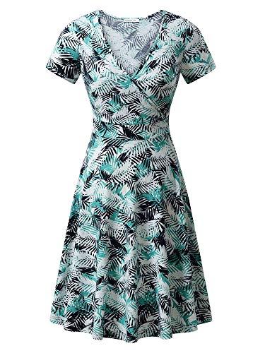 MSBASIC Women Dresses Elegant Dresses for Women Blue White Leaf ()