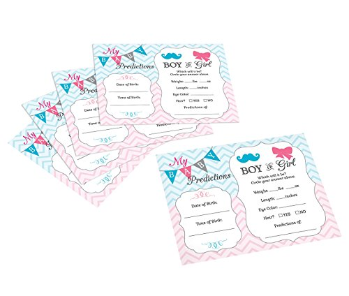 Lillian Rose Baby Gender Reveal Prediction Cards, Pink/Blue/White, 5.5″ x 4.25″