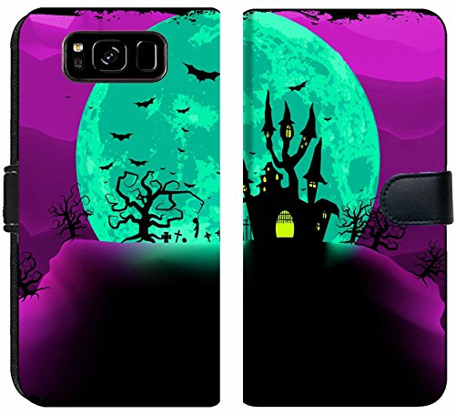 Samsung Galaxy S8 Flip Fabric Wallet Case Image 29839202 Scary Halloween Vector with Magical Abbey EPS 8 Vector File